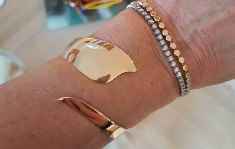 Dansk Fleksibel Designer Armring i 14 Karat Guld på 11,5 g.