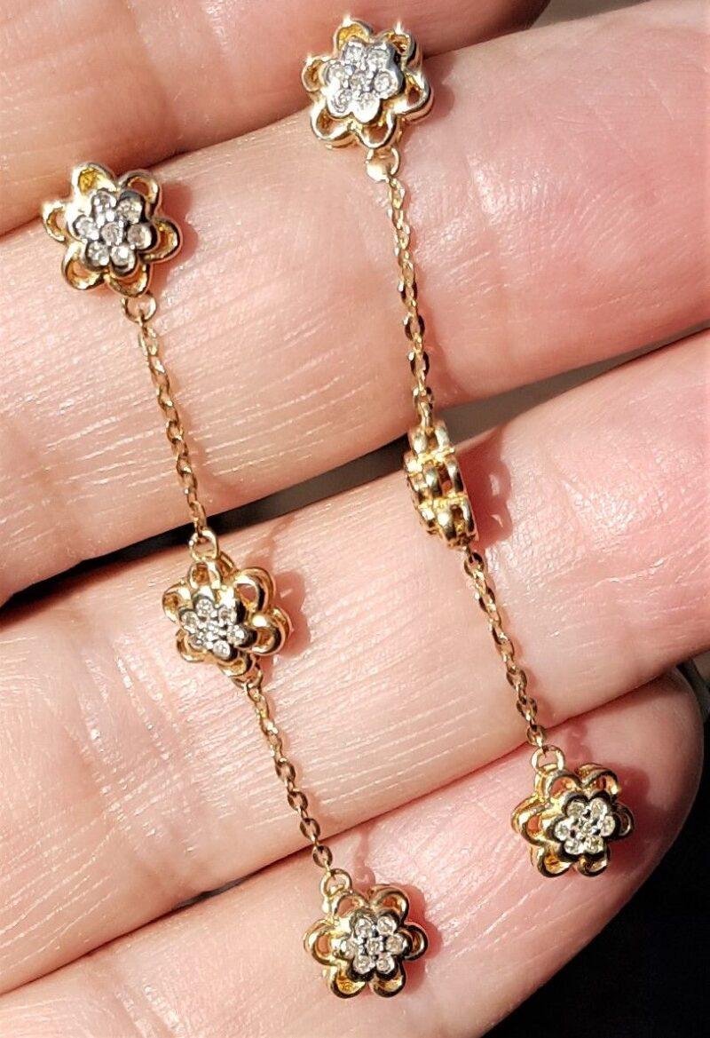 Hænge Diamant Øreringe m. 0,42 carat sat i Rosetter. 3