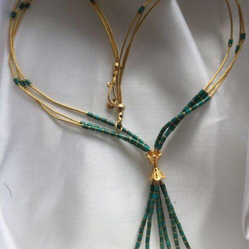 Egyptisk Design 14 Karat Guld Halskæde m. Turkiser.