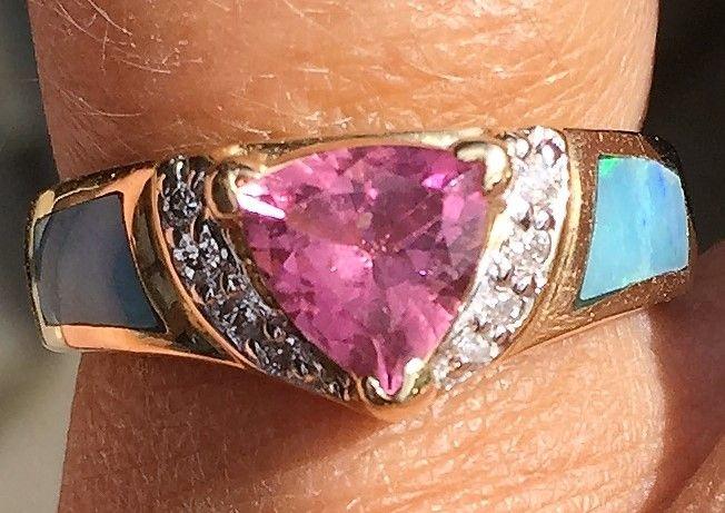 Pink Safir Ring m. Opal indlæg og Diamanter.