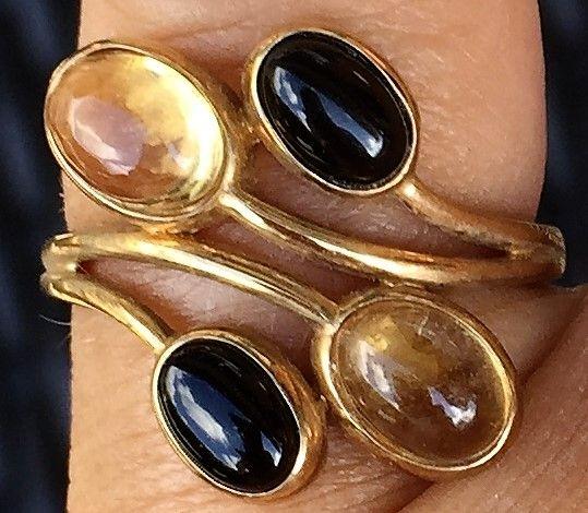 Citrine/Onyx Ring i Guld.