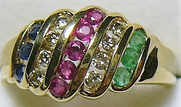 Safir/Rubin, Smaragd/Diamant Ring i Guld.