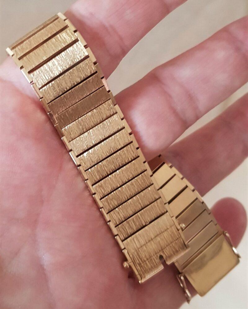 Kraftig 14 Karat Led Delt Guld Armbånd på 59 g. i Børstet/Blank Design.