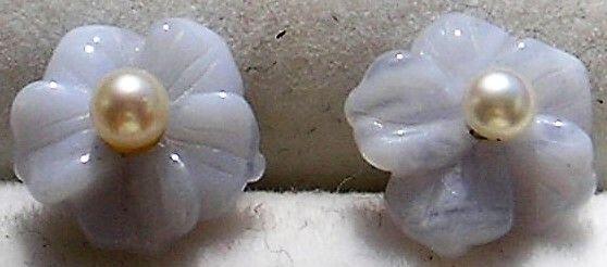 Chalcedony Øreringe i Guld m. Udskiftelige Hvide Perler.