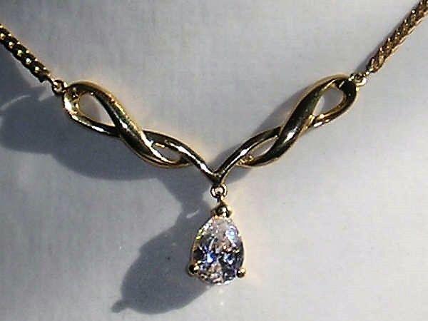 """Italiensk Guld Halskæde fra """" Lorenzo """" m. Pæreformet Zirkon."""