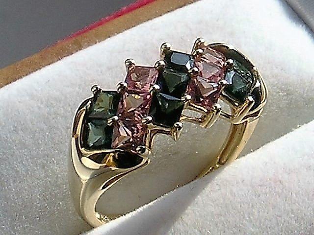 14 Karat Guld ring m. Blå, Pink Rosa og Grønne Turmaliner.