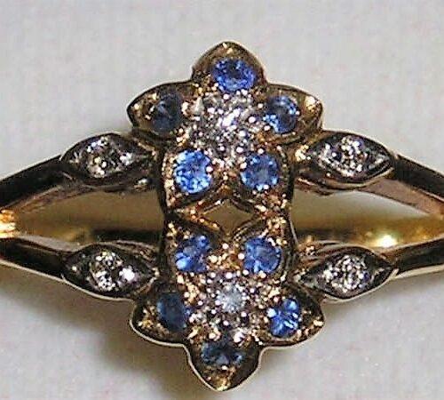 18 Karat Guld Ring m. Blå Safirer og Diamanter