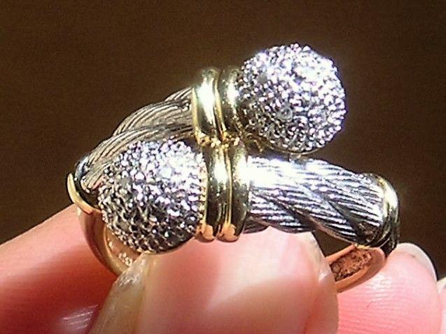 Diamant Ring m. Kugler i 14 Karat To Tonet Guld/Hvidguld.