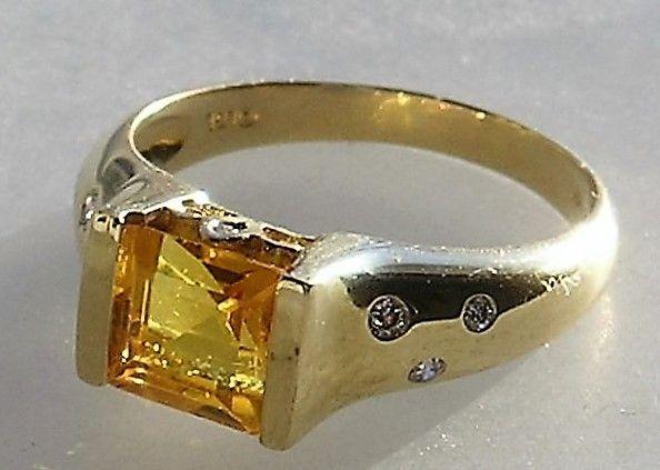 Guld ring m. Prinsesse Cut Citrin samt Diamanter