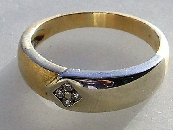 Rustik Børstet/Blank Diamant Ring i Guld og Hvidguld
