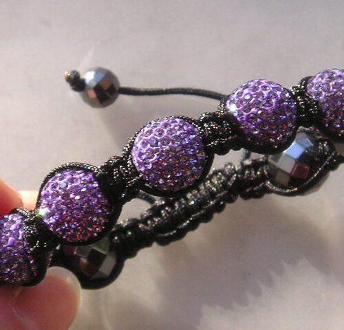 Hematite Armbånd m. Funklende Violet/Lilla Krystaller