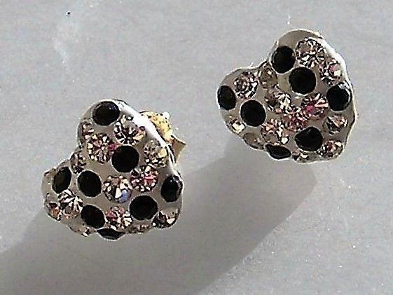 Hjerte Formede 14 Karat Guld Øreringe m. Swarovski Krystaller.