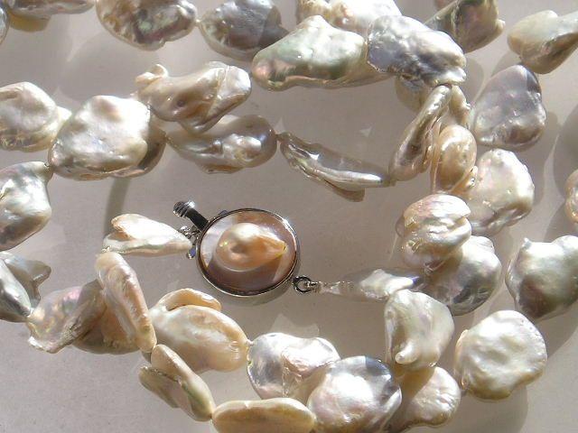 Hvid Keshi Barok Perlekæde på 80 cm.