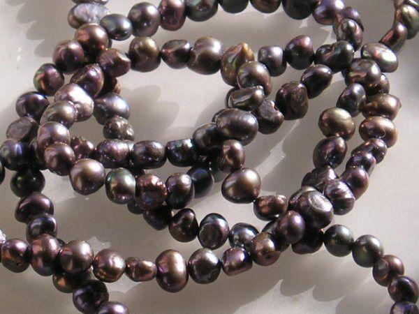 Ferskvands Perle Kæde m. Sorte Baroque Perler og Sølv Lås.