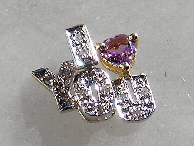 I Love You Guld 14 Karat Vedhæng m. Hjerteformet Ametyst og Diamanter.