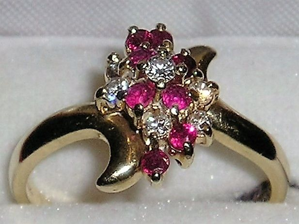 Rosa/Pink Rubin Ring i Guld m. Diamanter.
