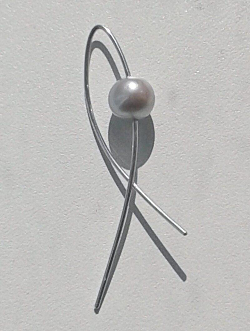 Håndlavet Tahiti Perle Vedhæng i Sølv m. 14 Karat Hvidguld i Dansk Design.