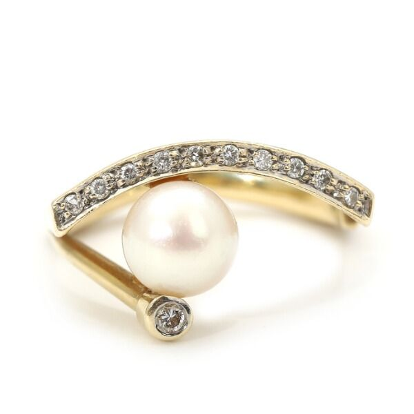 Håndlavet Unika Perle ring m. Diamanter
