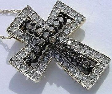 Diamant Kors i 14 Karat Guld m. Cognac Farvede og Hvide Diamanter.