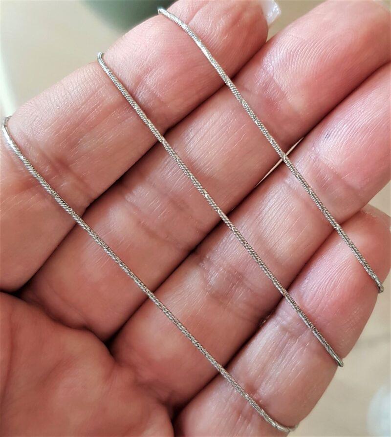 Diamant Cut Slange Halskæde i 14 Karat Hvidguld.