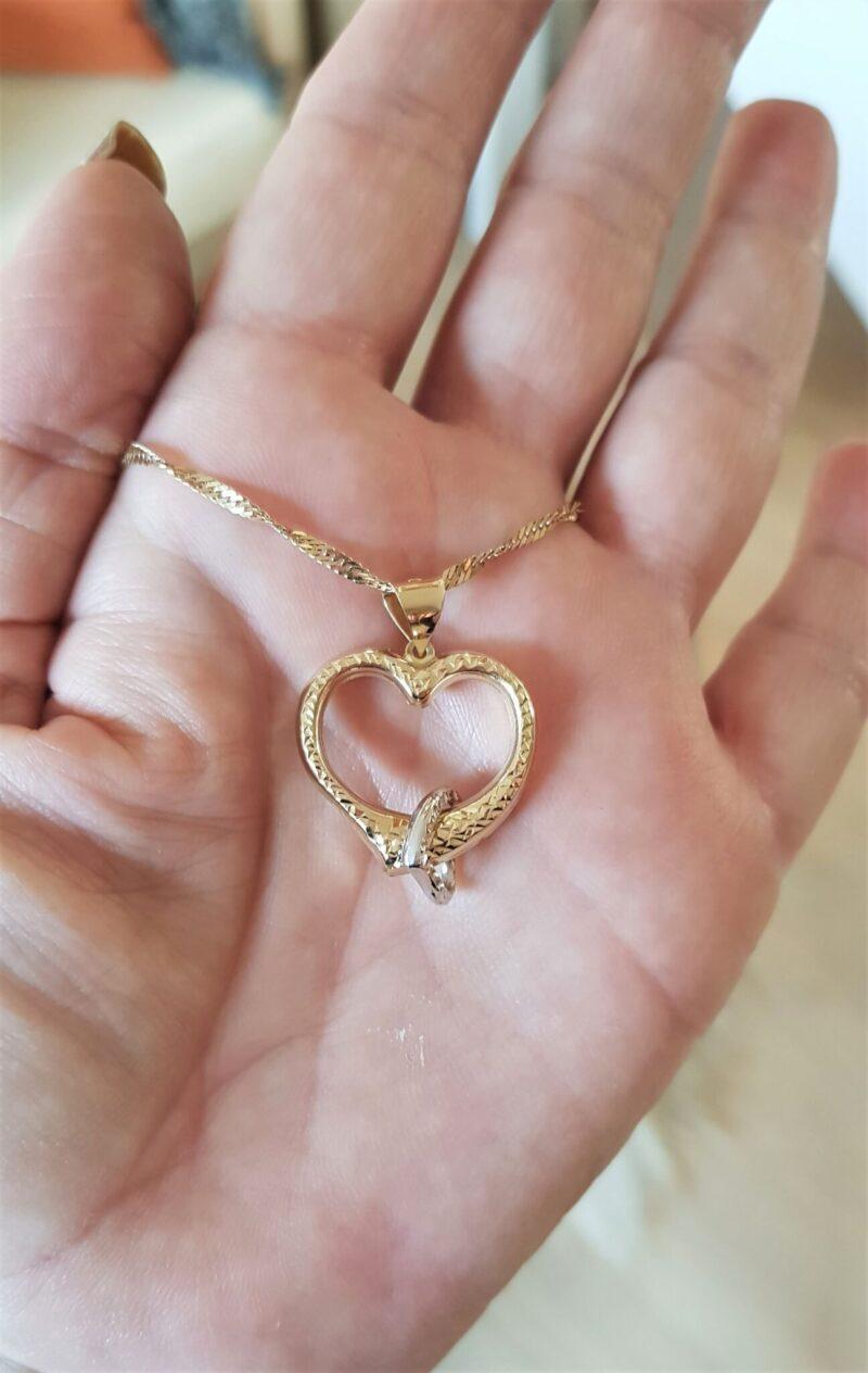 Charlotts Diamonds 14 Karat Hamret Guld hjerte m Bevægelig Hvidguld Hjerte.