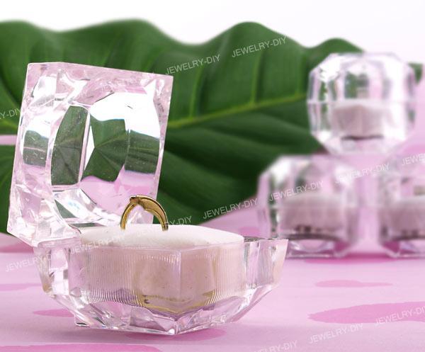 Elegant Glasklar Æske Til Ringe og Ørering