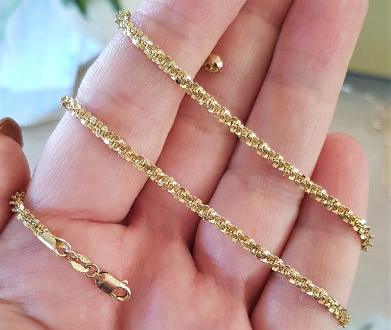 Kraftig Snoet Italiensk Margaritte Kæde på 43,5 cm. og 12 g. i 14 Karat Guld.