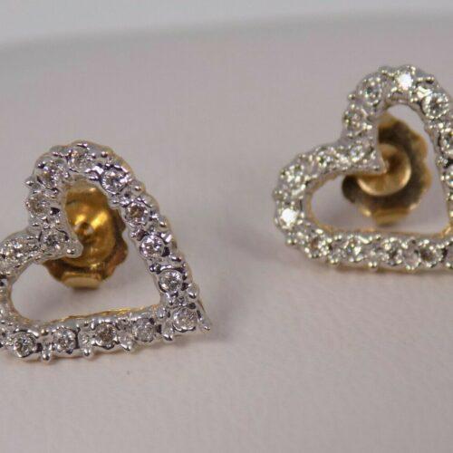 Åbne Hjerte Diamant Øreringe m. total 0,33 carat Diamanter sat i 14 Karat Guld