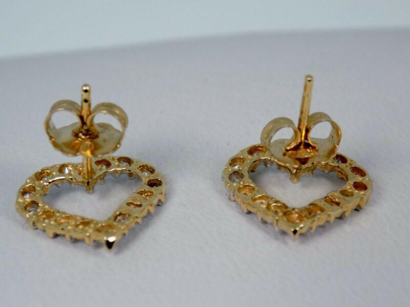 Hjerte Diamant Øreringe i 14 Karat Guld