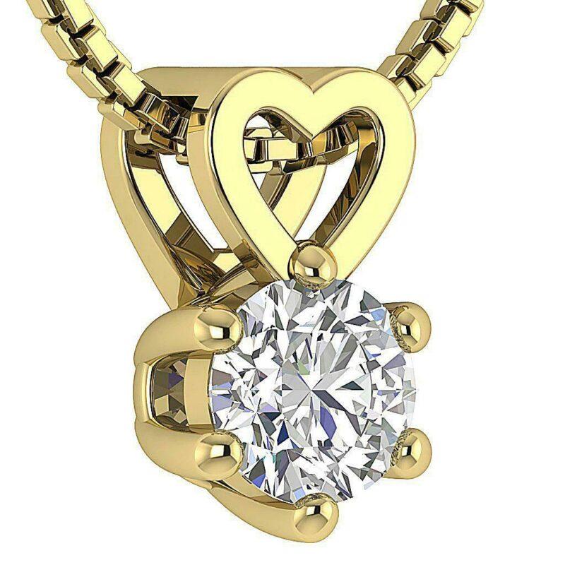 Solitaire Diamant Vedhæng m. Udskåret Hjerte i 14 Karat Guld.