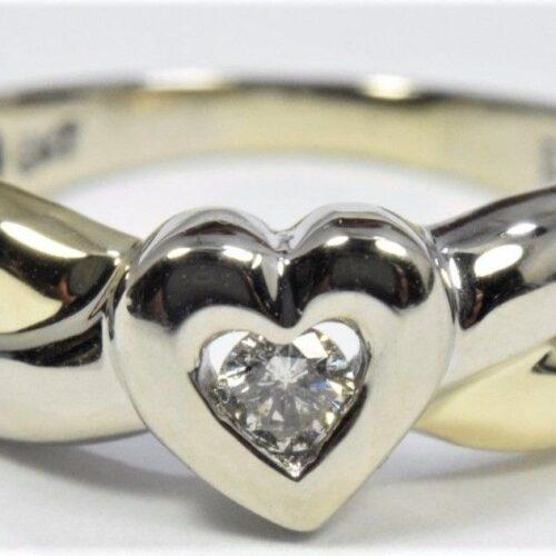 Hjerte Diamant Ring i Hvidguld/Guld.